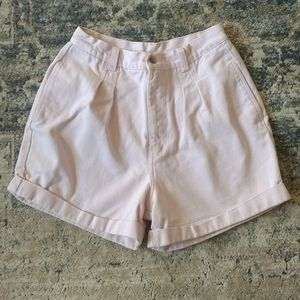 Vintage Baby Pink Cuffed High-Waisted Shorts